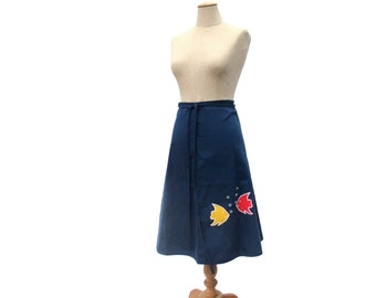Vintage 1970s Wrap Skirt Fish Applique Navy Blue Red Yellow size Medium Primary Colors Sea Animal Embroidery Unworn NOS