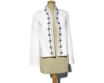 Vintage Jacket Blazer White Black Floral Soutache Embroidery 1980s NWT