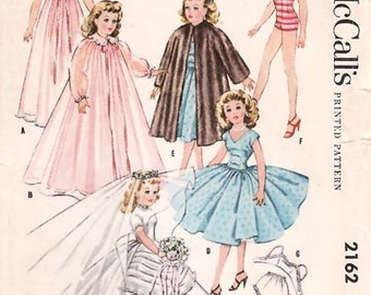 Size 18 Inch Vintage 50s Doll Sewing Pattern Uncut Bridal Wedding Gown Fur Coat Bathing Suit Nightgown Peignoir Bra Panties Petticoat