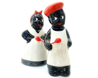 Vintage 1950s Salt & Pepper Shakers Ceramic Mammy Pappy Red White Collectible Mid Century Kitchenware Black Americana Shaker Set