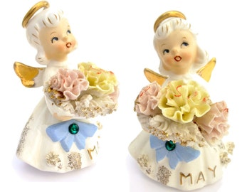 Vintage 50s Ceramic Spaghetti Angel Month May Birthday Lefton Japan Collectible Figurine Home Decor Girl Figure Decoration