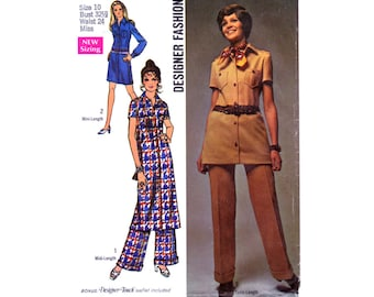 Vintage Sewing Pattern Button Front 70s Dress Tunic Pants Size 10 Small Bust 32 1/2 Uncut Simplicity 8728 Unused