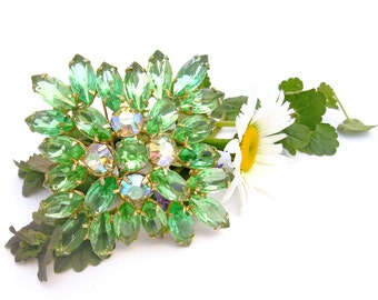 Vintage 50s Rhinestone Brooch Pin Large Square Citron Green Marquise Cut Gold Metal AB Mid Century Costume Jewelry