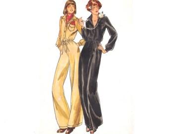 Vintage 1970s Jumpsuit Sewing Pattern Button Front Shirtwaist size Medium Bust 34 Uncut Butterick 5131