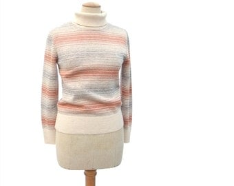 Vintage Turtleneck Sweater 70s Space Dyed Ombre Stripe Medium Large