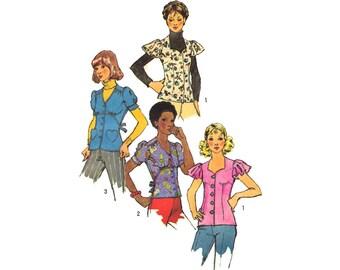 Vintage Sewing Pattern 70s Empire Waist Blouse Sweetheart Neckline Flutter Sleeves Heart Pockets size Medium Bust 34 Simplicity 5803