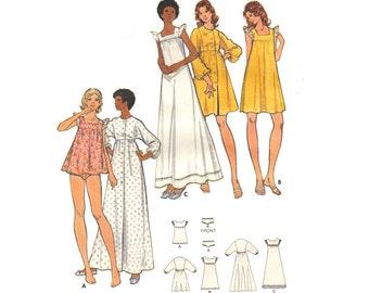 Vintage Sewing Pattern 70s Lingerie Negligee Nightgown Sleepwear size 12 Medium Bust 34 Unused Butterick 5744