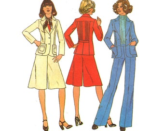 Vintage Sewing Pattern 70s Fitted Jacket Divided Skirt size 10 Small Bust 32 1/2 Simplicity 7672