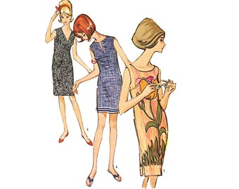 Vintage 1960s Shift Dress Sewing Pattern Mini Knee Length Sleeveless Uncut Small McCall's 7340 Unused Quick East Beginner Pattern