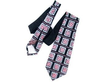 Vintage 40s Swing Necktie Pink Gray Black Squares Jacquard Silk