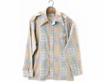 Vintage 70s Western Shirt Cowboy Snap Front Floral Pastel Pink Blue Tan size Large