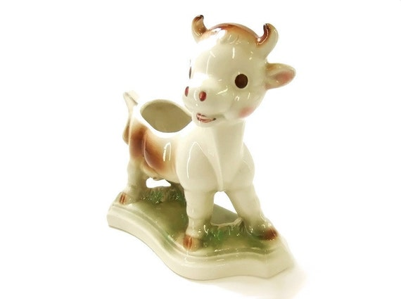 Vintage 1950s Ceramic Cow Planter Ruth Rempel Farm Animal Home Decor Pink Brown Green Collectible Diamond Pottery
