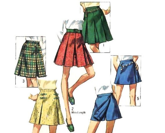 vintage 60s sewing pattern pleated scooter mini skirt