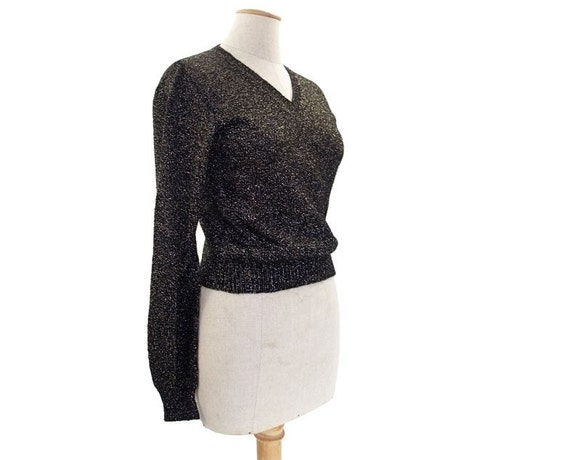 Vintage Sweater 70s Pullover Disco V Neck Metallic Black Gold Sparkle size Small Medium Long Sleeve Vee Neck