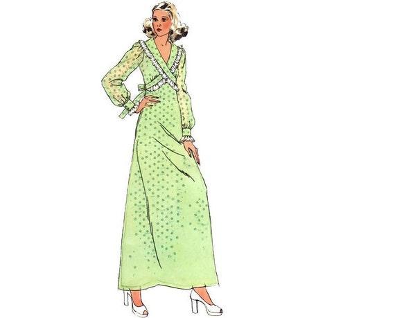 Vintage Sewing Pattern 70s Empire Waist Dress Mini Maxi Boho Cross-Over Bodice size 14 Medium Bust 36 Simplicity 5430