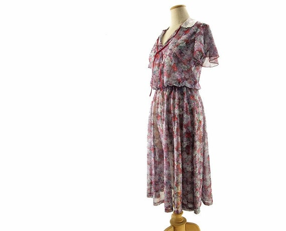Vintage Dress Sheer Floral Purple Lace Collar Ribbon Tie Medium Large