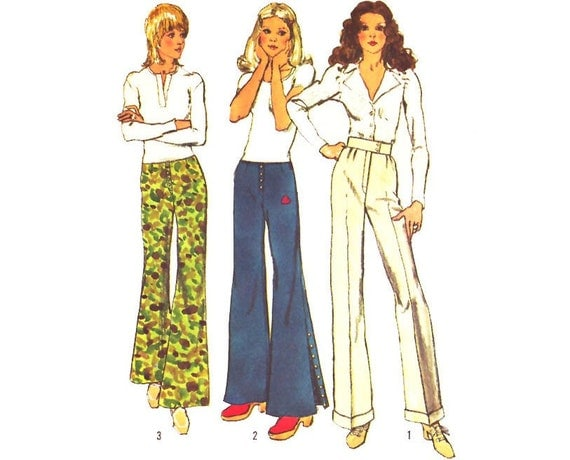 Vintage Sewing Pattern 70s Bell Bottom Pants Hip Huggers Uncut Small XS