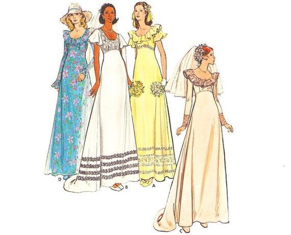 Vintage Wedding Dress Sewing Pattern 70s Empire Waist Ruffle Bridal Gown size 12 Bust 34 Medium Butterick 3491