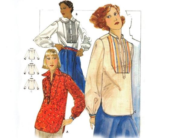 Vintage Blouse Sewing Pattern Ethnic Tunic Pin Tuck Bib Tuxedo Ruffle