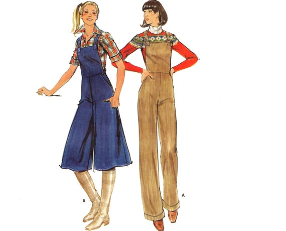 Vintage 70s Sewing Pattern Overalls Culottes Gaucho Pants Medium Uncut