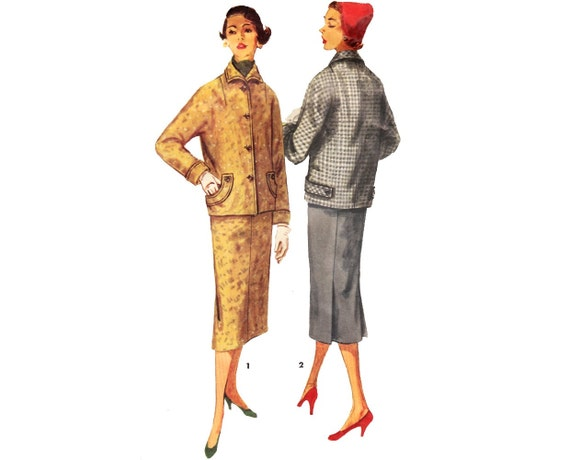Vintage Suit Sewing Pattern 1950s Pencil Skirt Jacket bust 32 Small XS