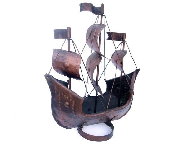 Vintage Galleon Metal Ship Sailboat Antiqued Copper Man Cave Decor