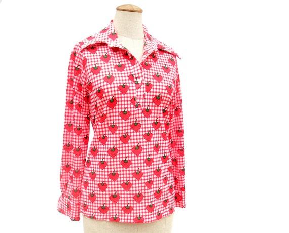 Vintage 1970s Blouse Strawberry Print Red Plaid Stretch Knit Medium
