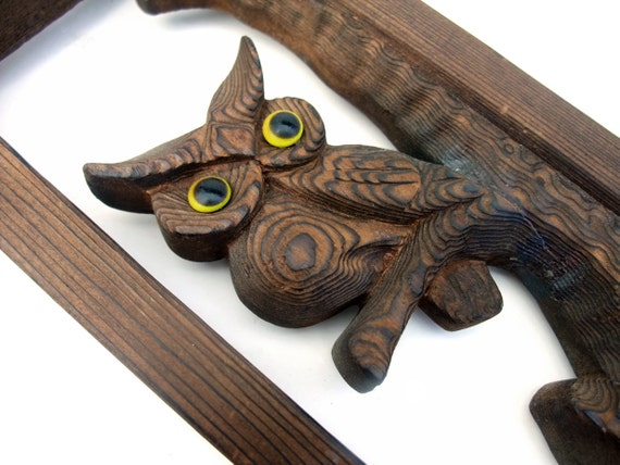 Vintage Owl 1970s Hand Carved Wood Plaque Wall Art Decor
