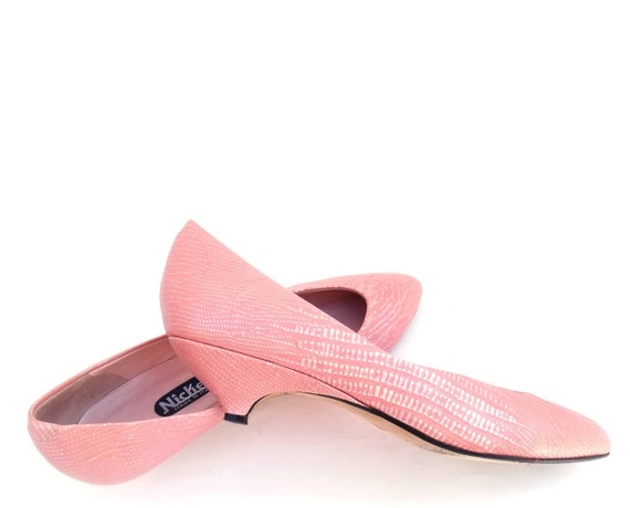 vintage shoes pink leather kitten heel 1980s by