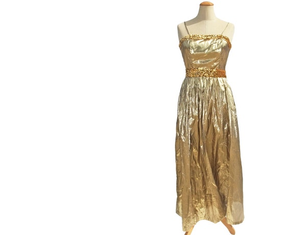 Vintage 70s Gold Lame Sequin Evening Gown New Unworn NWT Small XS