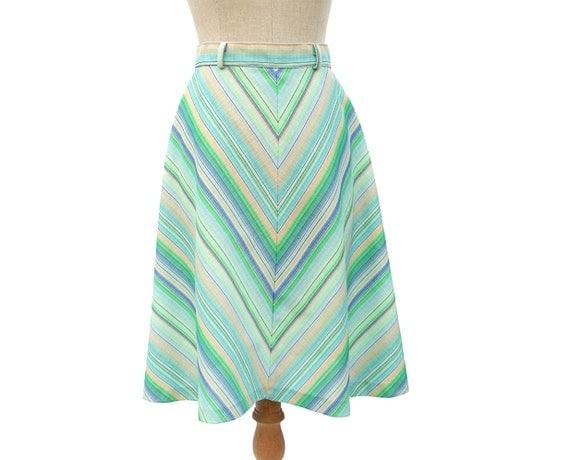 Vintage A Line Flare Skirt 70s Diagonal Stripe Blue Green Yellow Chevron Stretch Knit size Medium Vintage Clothing