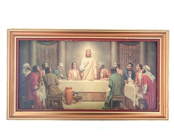 Vintage 1950s Framed Last Supper Print Picture Wall Decor