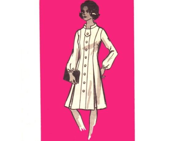 Vintage Mail Order Sewing Pattern Uncut 70s Princess Dress Half Size 16 1/2 Bust 39 Plus Size XL Large Marian Martin 9043