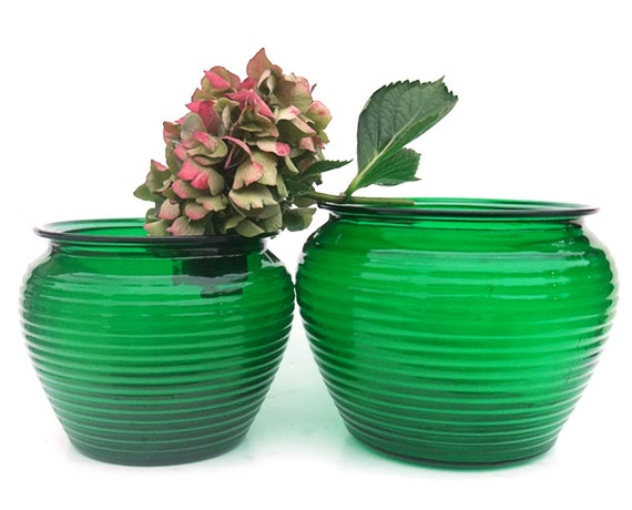 Vintage Forest Green Glass 60s Ribbed Florist Bowls Pair Shabby Decor