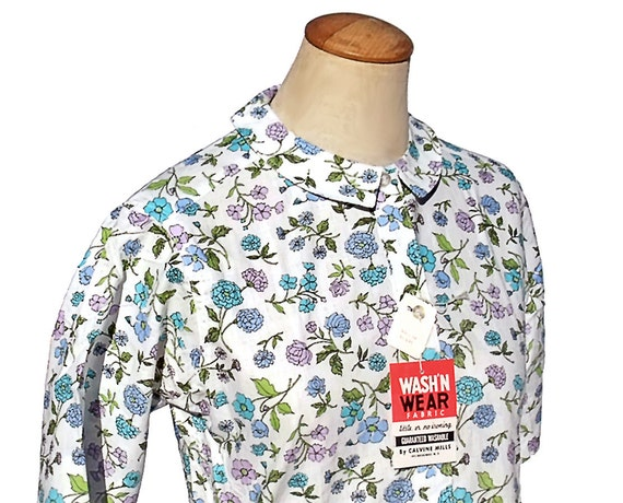 RESERVED for Jodi - do not buy - Vintage 60s Blouse Floral Print Lavender Aqua Blue Unworn Medium NWT