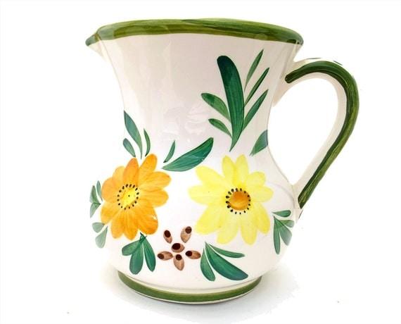 Vintage Ceramic Pitcher Floral Vase  Yellow Orange Green Flowers Relpo