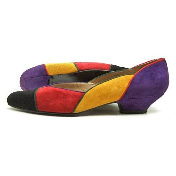 80s Vintage Suede Shoes Colorful Red Yellow Purple Black Pumps 8 1/2