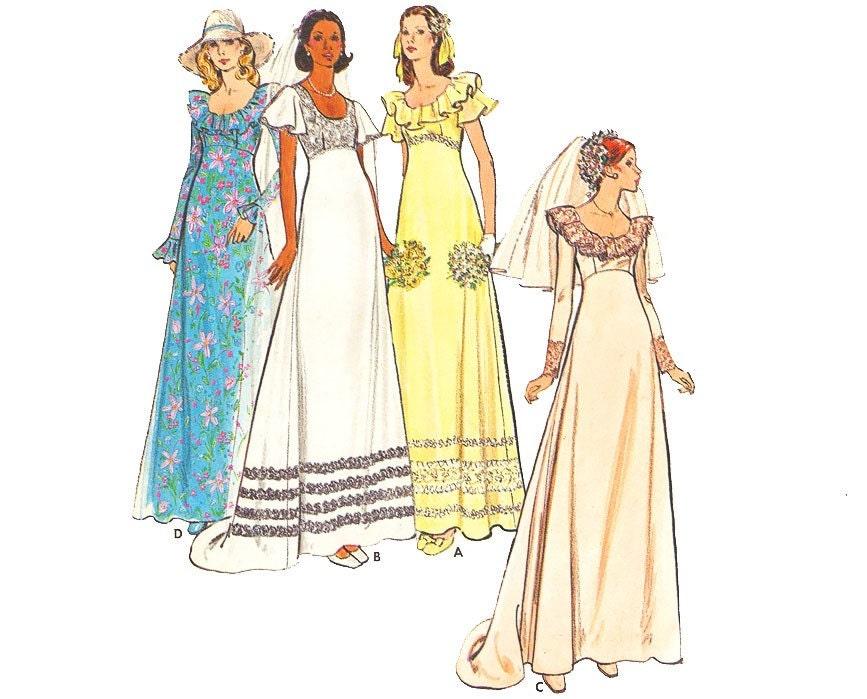 Vintage wedding dress sewing pattern 70s empire waist ruffle for Empire waist wedding dress patterns