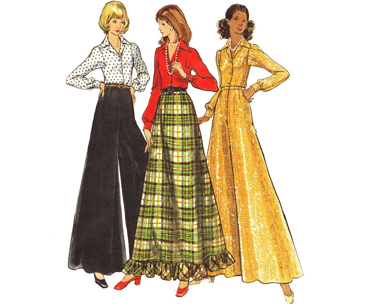 vintage 70s a line maxi skirt sewing pattern palazzo