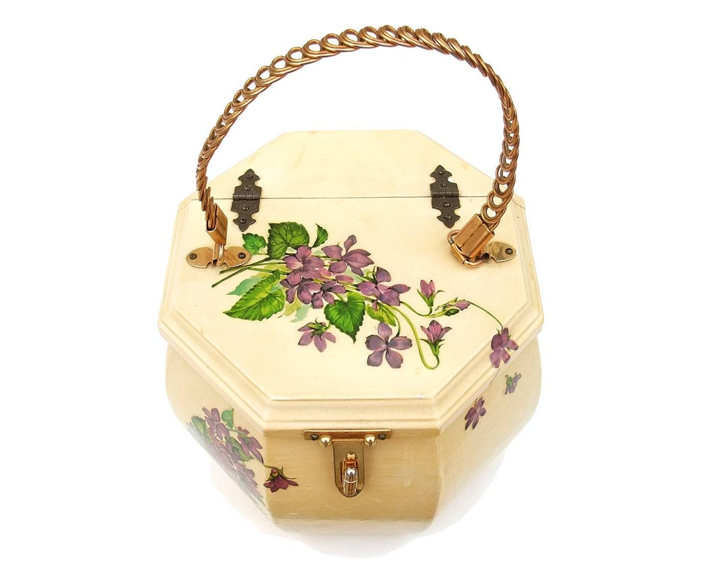 Vintage 50s Purse Decoupage Wood Octagon Violet Flowers Bow