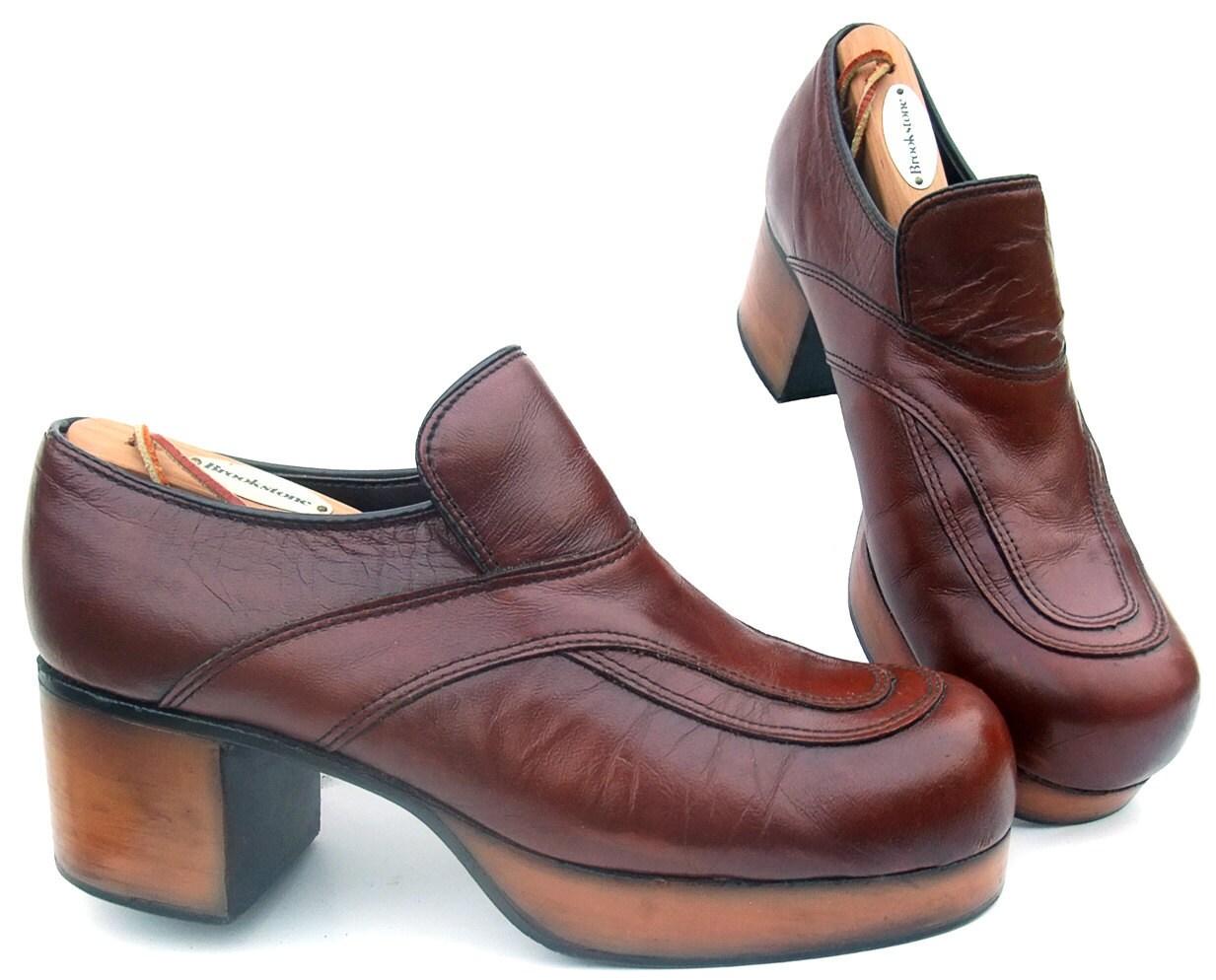 vintage 1970s platform shoes disco pimp brown leather 9