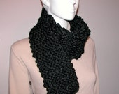 Pure Black Bulky Knit Long Scarf, Thick, Soft, Silky Yarn Neckwarmer, Headcover, Cowl