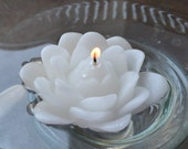 Set of 12 White Lotus floating candles