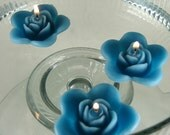 12 Teal floating rose wedding candles for table centerpiece and reception decor.