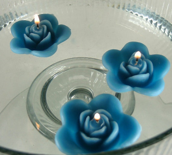 Floating Rose Centerpiece: 12 Teal Floating Rose Wedding Candles For Table By