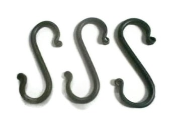 Wrought Iron S Hooks-Small- set of 3- for your crafting needs, craft room or show display --handmade in the USA
