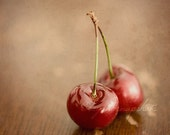 Two Little Cherries - 8x8 photographic print on metallic paper