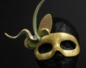 Green and Gold Venetian Style Paper Mache Mask