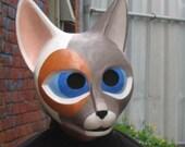 Calico Paper Mache Cat Mask