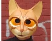 Striped Paper Mache Cat Mask